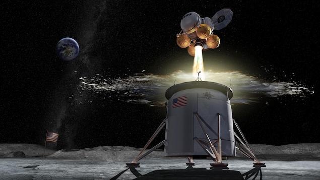 Représentation artistique d'un véhicule lunaire.