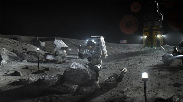 Illustration artistique montrant des astronautes travaillant à la surface de la Lune.