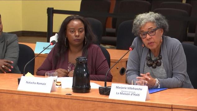 Marjorie Villefranche et Natacha Romain au micro de la commission.