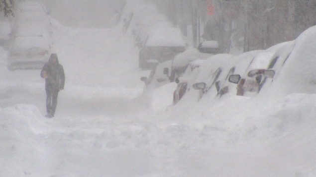 Les voitures en bordure d'une rue sont très enneigées; on les voit d'ailleurs difficilement en raison de la neige abondante qui tombe.