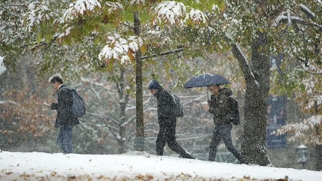 Trois jeunes hommes marchent dans la neige.