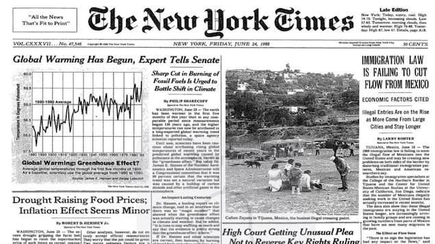 Première page du New York Times du 24 juin 1988