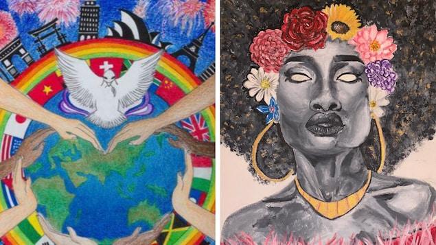 Montage de deux œuvres NFT. Une représente des mains de différentes personnes autour d'un globe terrestre avec une colombe en haut. L'autre œuvre représente le visage d'une femme noire qui porte des bijoux et une couronne de fleurs.