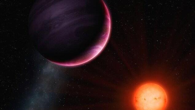 Reconstitution de la planète NGTS-1b par l'artiste Mark Garli.