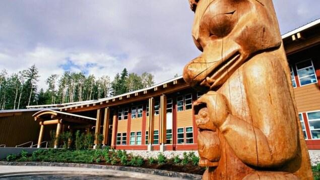 Une sculpture de bois devant un immeuble en bois.