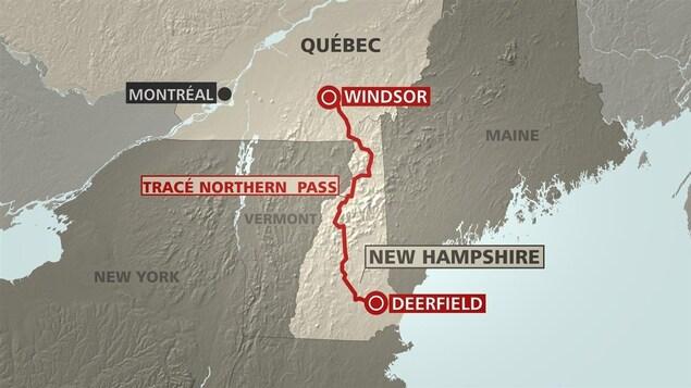 Le tracé Northern Pass, qui part de Windsor, au Québec, pour se rendre jusqu'à Deefield, au New Hampshire.