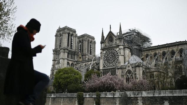 Une femme consulte son téléphone, près de Notre-Dame de Paris.
