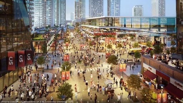 Une image digitale qui montre un nouveau complexe moderne, avec des rues bondées de gens.