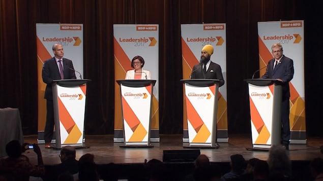 Les quatre candidats souhaitent succéder à Thomas Mulcair.