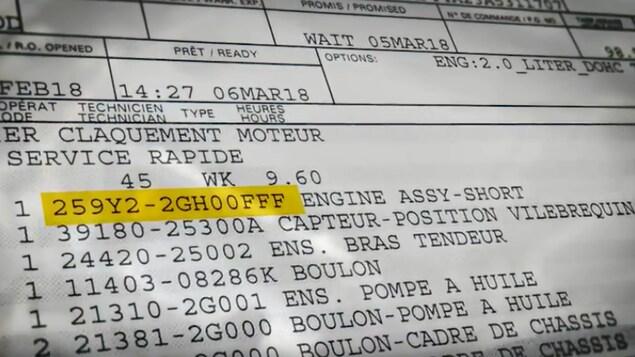 Numéro d'un bloc moteur de remplacement sur une Kia Forte