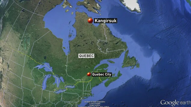 A map showing the location of Kangirsuk in relation to Quebec City.
