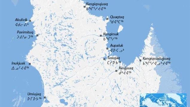 Carte du Nunavik et de ses villages nordiques.