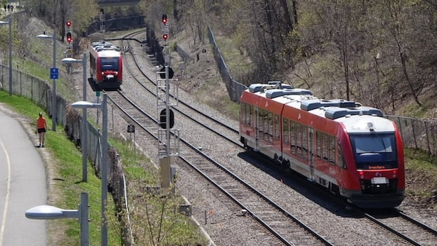 Deux trains de la ligne Trillium de l'O-Train voyageant entre les stations Bayview et Carling, à Ottawa, pendant l'été.