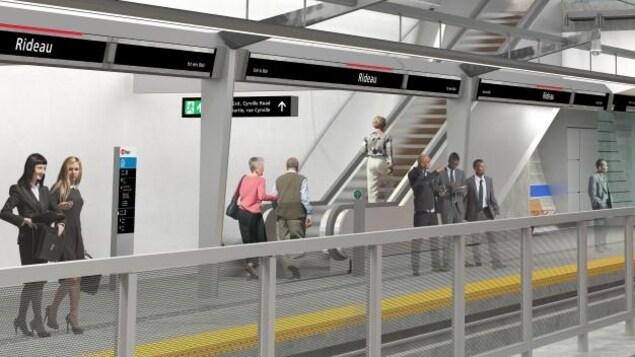 Vue sur un quai de station avec un escalier mécanique et deux trains.