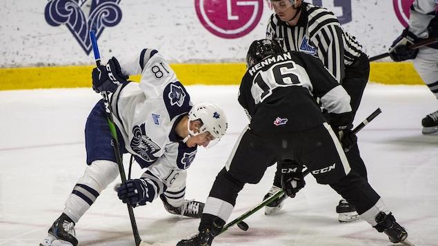 Deux joueurs de hockey s'apprêtent à se disputer la rondelle lors d'une mise au jeu.