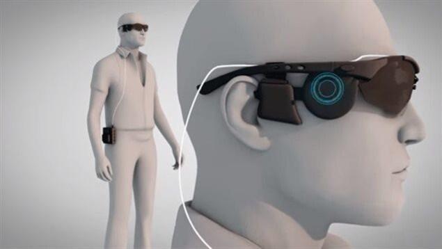 Représentation de l'oeil bionique Argus II sur un homme