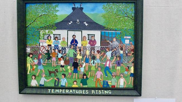 Une artiste a peint le conflit qui oppose le conseil municipal à la population. L'oeuvre est exposée à la bibliothèque municipale.