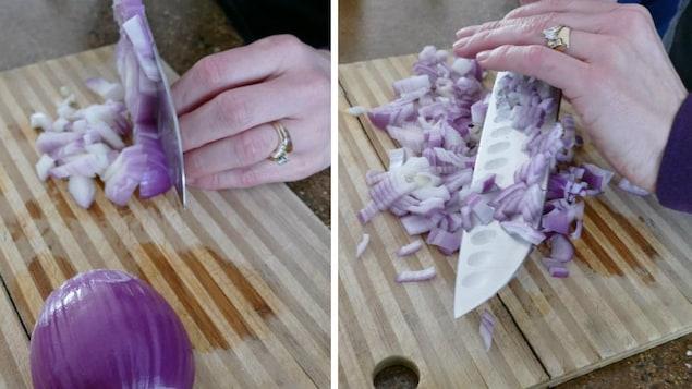 Une personne dont on ne voit que les mains qui, à l'aide d'un grand couteau, hache un oignon rouge sur une planche de bois.