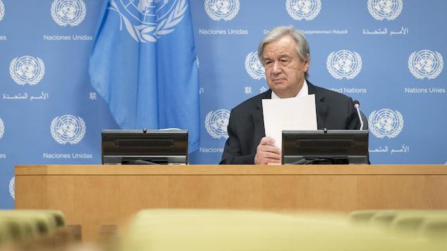 M. Guterres lors d'une conférence de presse à Genève le 23 octobre 2020.