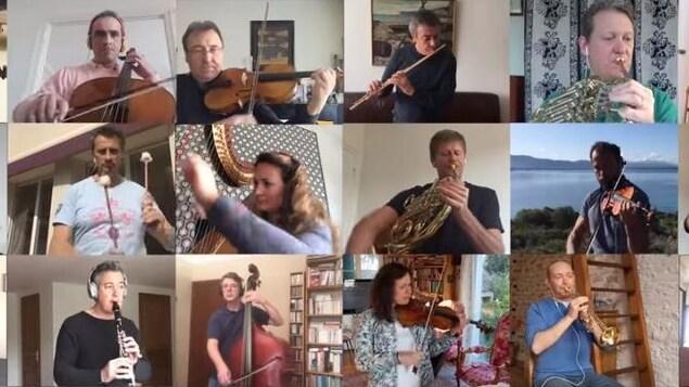 Les membres de l'orchestre jouent chacun, chacune d'un instrument.