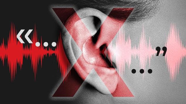 Montage photo où on voit une oreille avec un gros X et des formes d'ondes.