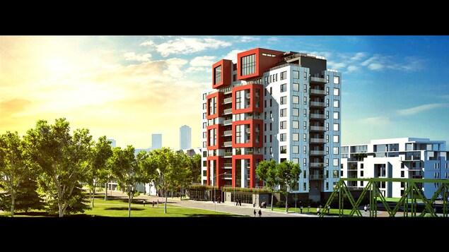 Le projet d'immeuble en copropriété de 12 étages Origine, dont l'ouverture est prévue l'été prochain à Québec.