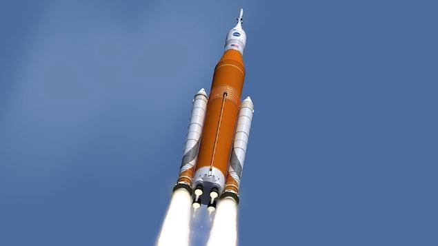 Une image de la NASA représentant la capsule Orion peu après le décollage de sa fusée de lancement.