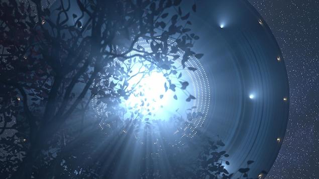 Illustration d'un ovni apparaissant dans le ciel à travers les branches d'un arbre.