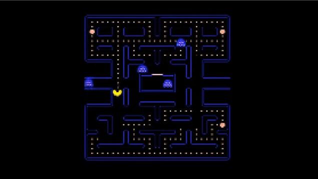 Une capture d'écran qui ressemble en tous points au jeu original de Pac-Man, mais l'image est un peu plus floue.