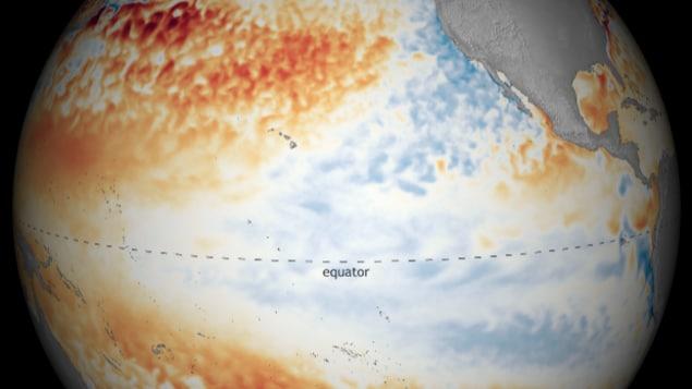 Carte des températures de surface de l'océan Pacifique en avril 2021.