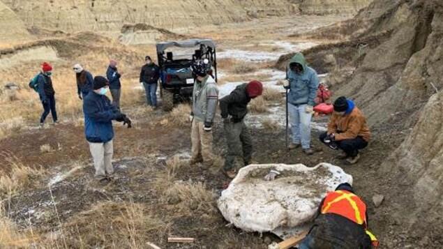 Plusieurs hommes et femmes sont debout au dessus de cette masse de plâtre d'un mètre environ qui contient des os de dinosaure. On voit d'autre gens et un jeep en arrière plan.