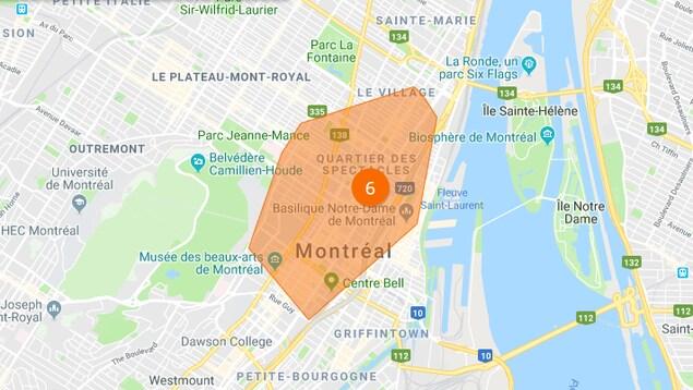 Une carte de Montréal.