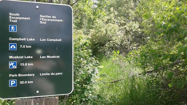 Un panneau indiquant les sentiers du parc Mont-Riding