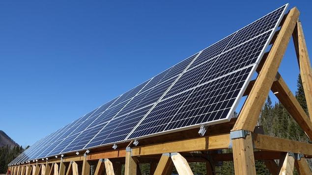 Un plan rapproché de panneaux solaires devant un ciel bleu et un paysage forestier.