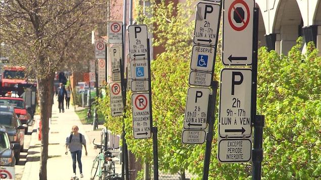 Nombreux panneaux d'interdiction de stationnement