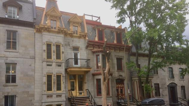 Une rue de Montréal avec des immeubles anciens en pierre.