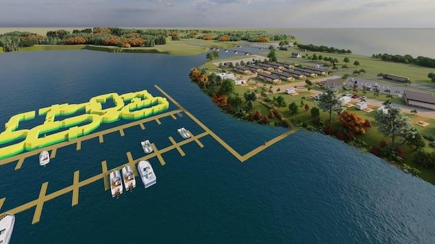 Une simulation par ordinateur d'un parc aquatique.