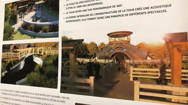 Maquettes: la tour à droite, des ponts à gauche