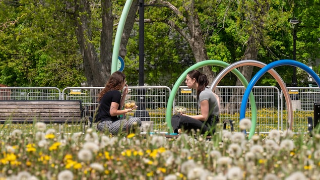 Deux femmes tiennent chacune un plan rempli de nourriture et elles sont assises sur un banc dans un parc.