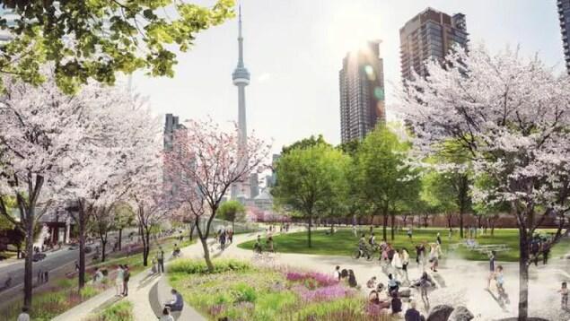 Rendition artistique d'un projet de parc à Toronto.