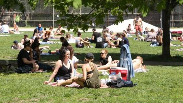 Des dizaines de personnes dans un parc.