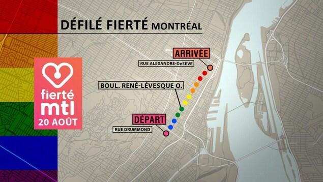 Le parcours du défilé Fierté Montréal