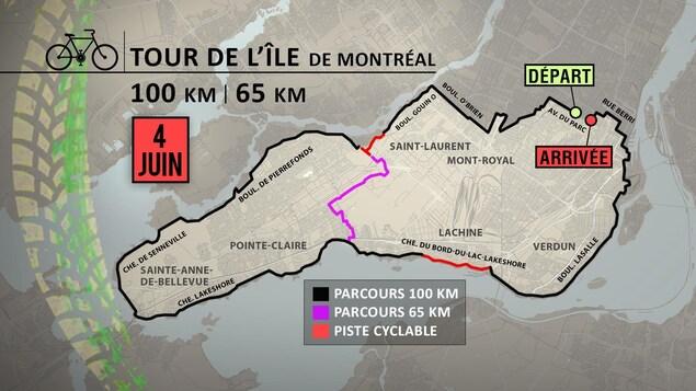 Parcours du Tour de l'île de Montréal de 65 et 100 kilomètres.