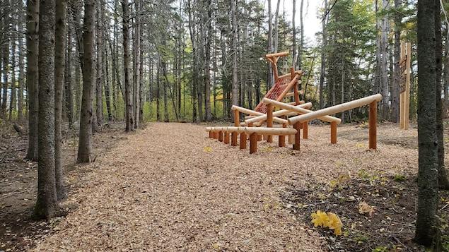 Une structure de bois permettant plusieurs types d'exercices physiques sur un sentier aménagé.