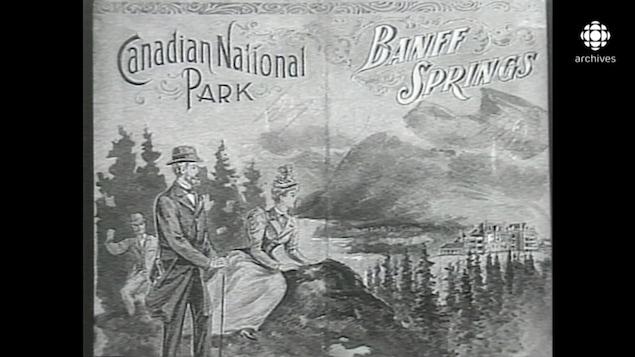 Affiche touristique en noir et blanc annonçant le parc national de Banff.