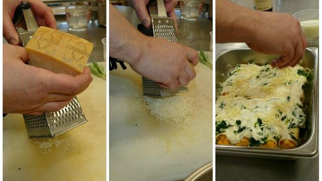 Luc râpe le fromage parmesan et l'ajoute sur les cannellonis.