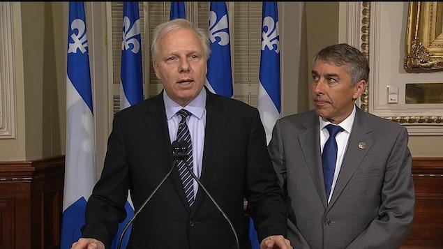 Le chef du Parti québécois, Jean-François Lisée, et le député Nicolas Marceau.