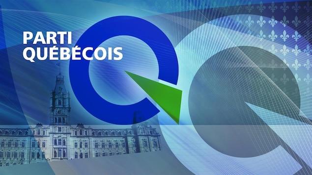 Montage graphique du logo du Parti québécois, de l'Assemblée nationale et de fleurs de lys.