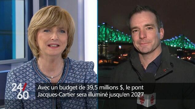 Le directeur des projets chez Les Ponts Jacques Cartier et Champlain Incorporée, Pascal Villeneuve, en entrevue à l'émission 24|60