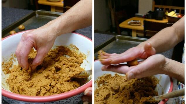 Deux mains roulent de petites boules de pâte pour les biscuits à la mélasse